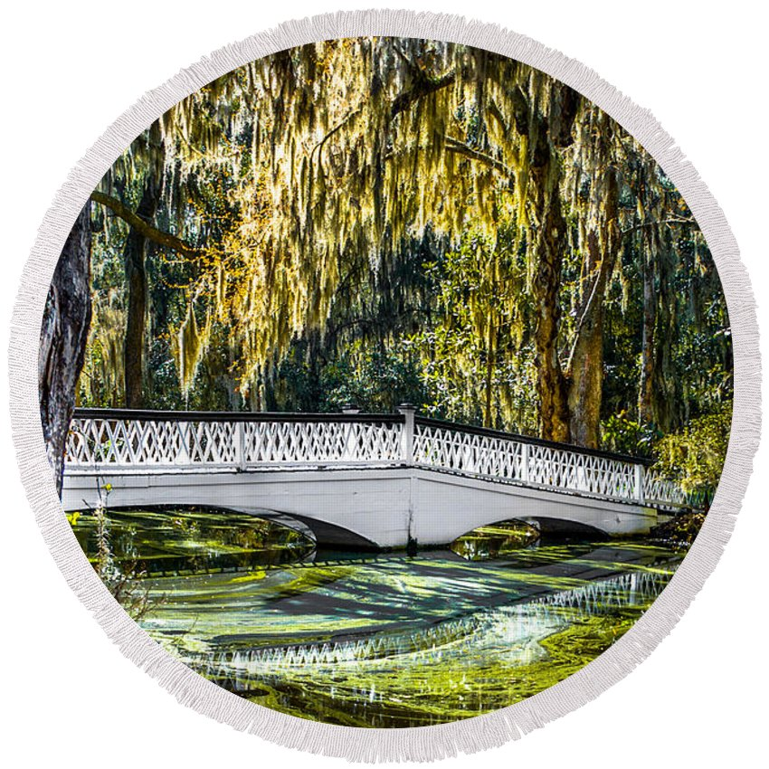 Optical Playground By Mpray Round Beach Towel featuring the photograph Plantation Bridge by Optical Playground By MP Ray