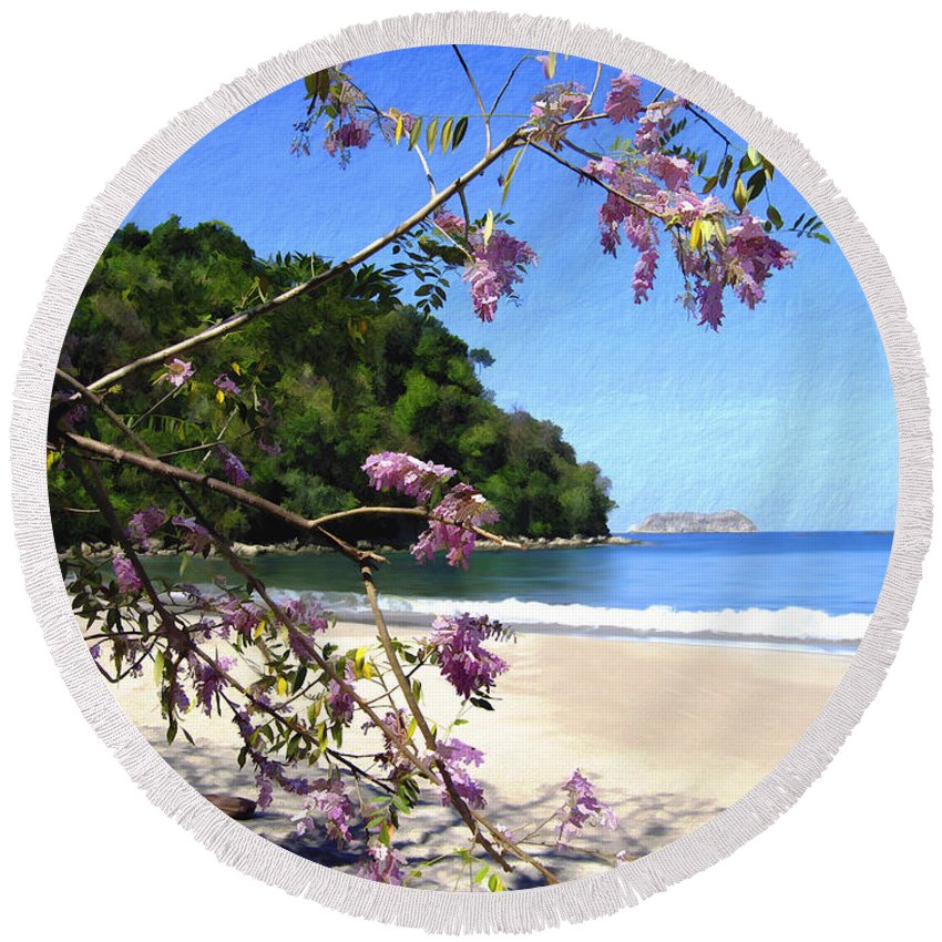 Beach Round Beach Towel featuring the photograph Playa Espadillia Sur Manuel Antonio National Park Costa Rica by Kurt Van Wagner