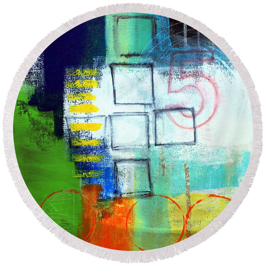 Abstract Round Beach Towel featuring the painting Playground by Linda Woods