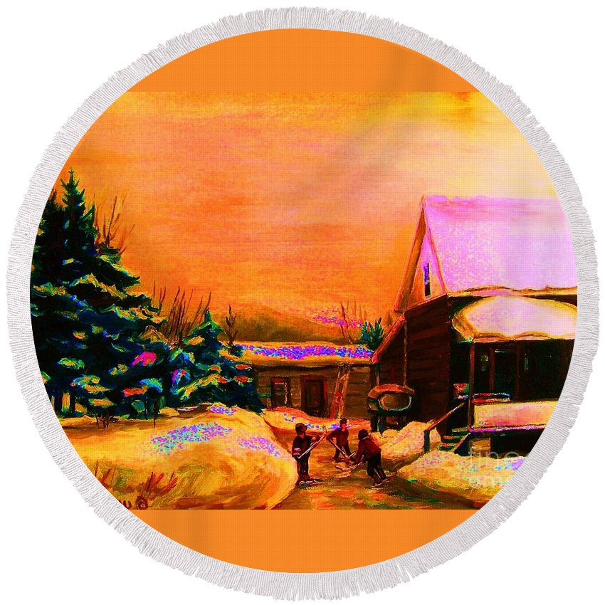 Hocket Art Round Beach Towel featuring the painting Playing Until The Sun Sets by Carole Spandau