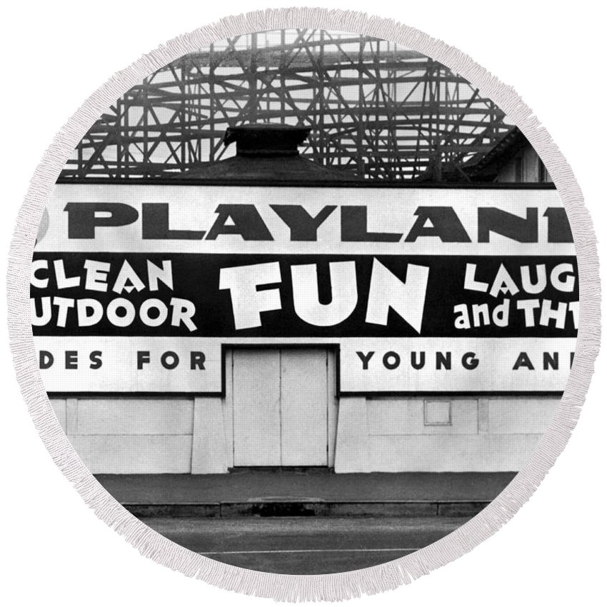 1940's Round Beach Towel featuring the photograph Playland At The Beach by Underwood Archives