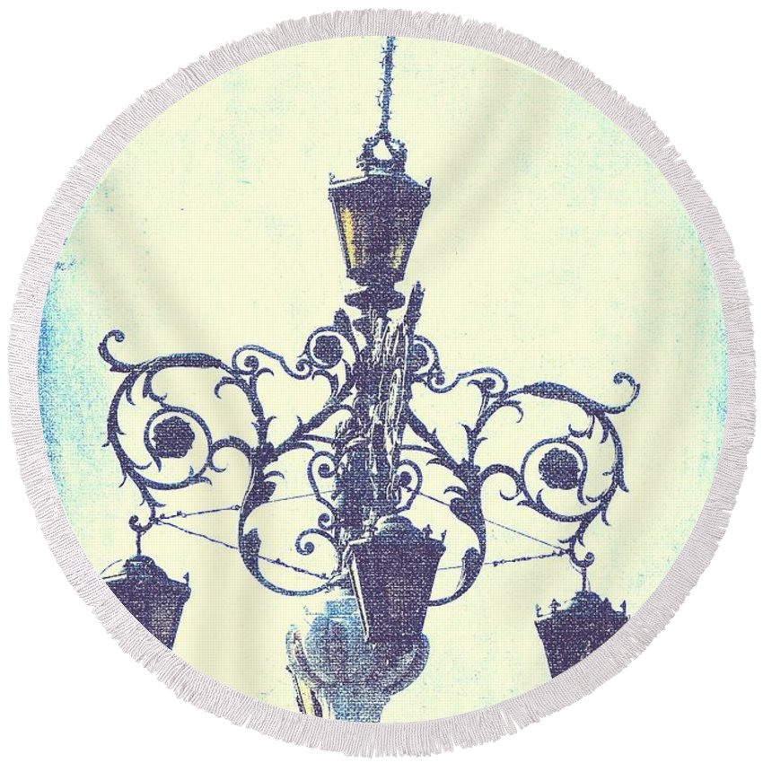 Architecture Round Beach Towel featuring the photograph Plaza Light by Cassie Peters