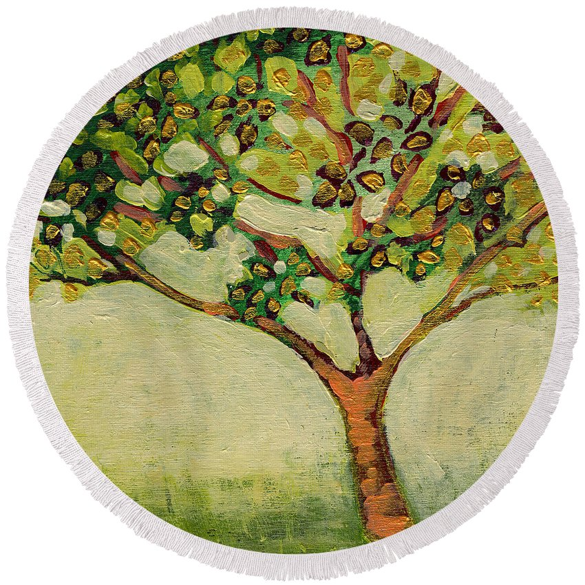 Tree Round Beach Towel featuring the painting Plein Air Garden Series No 8 by Jennifer Lommers