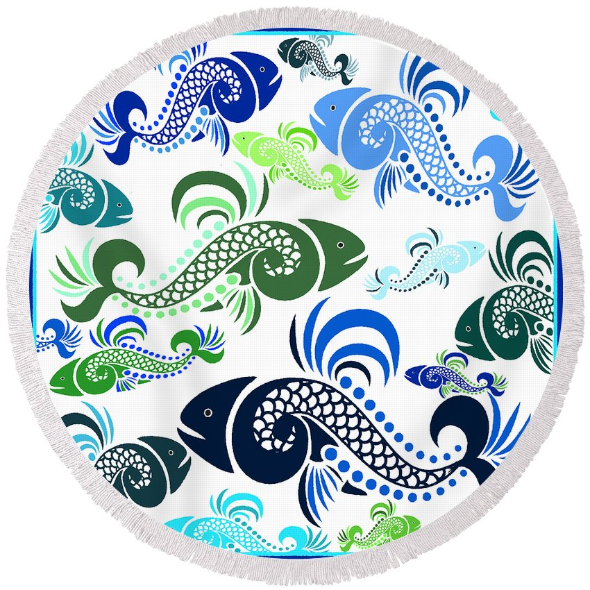Fish Round Beach Towel featuring the mixed media Plenty Of Fish In The Sea 4 by Angelina Vick
