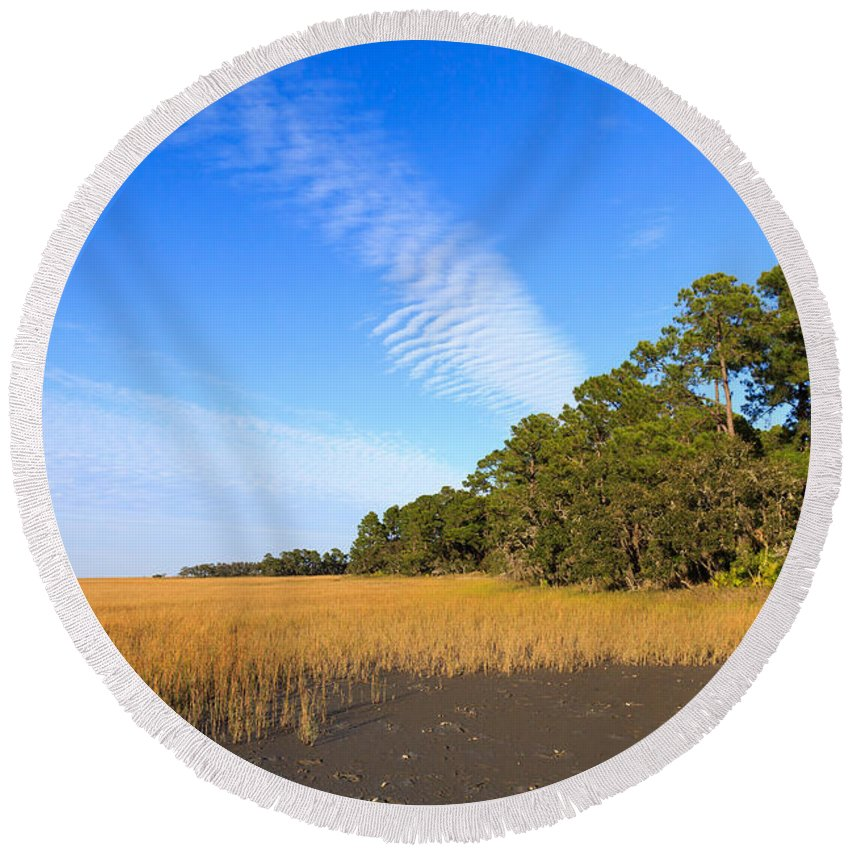 Pluff Mud Round Beach Towel featuring the photograph Pluff Mud And Salt Marsh At Hunting Island State Park by Louise Heusinkveld