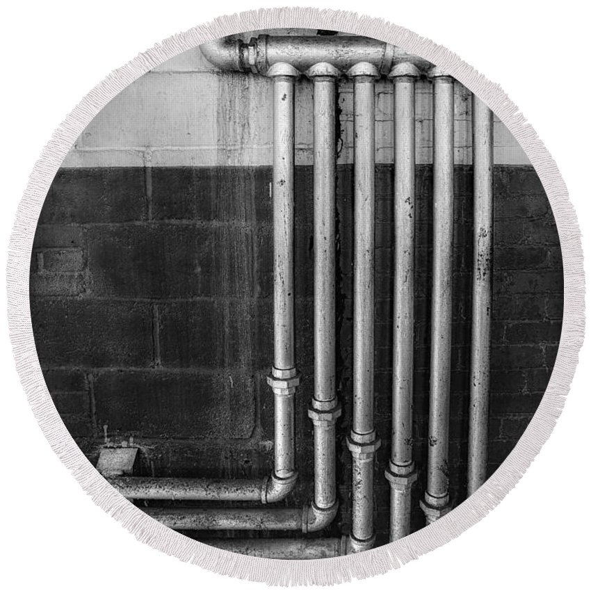 B&w Round Beach Towel featuring the photograph Plumbing Symmetry by Susan Candelario
