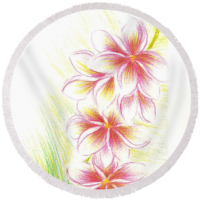 Watercolour Round Beach Towel featuring the painting Plumerias by Dina Holland