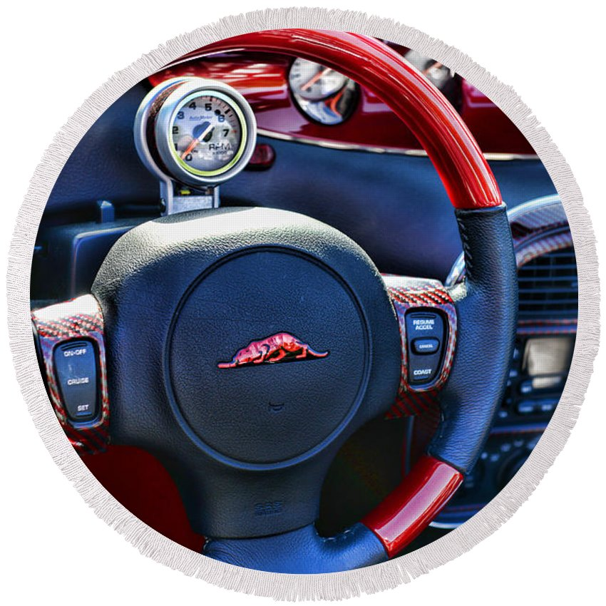 Paul Ward Round Beach Towel featuring the photograph Plymouth Prowler Steering Wheel by Paul Ward