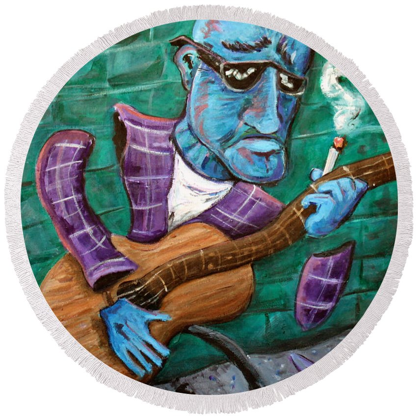 Jazz Music Art The Blues Musician Round Beach Towel featuring the painting Po Man by Jason Gluskin