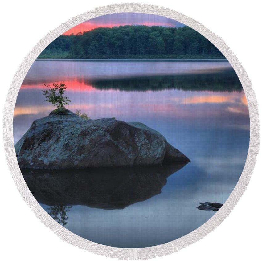 Poconos Sunset Round Beach Towel featuring the photograph Poconos Sunset Mirror by Adam Jewell