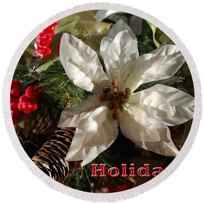 Christmas Card Round Beach Towel featuring the photograph Poinsetta Christmas Card by Aimee L Maher ALM GALLERY