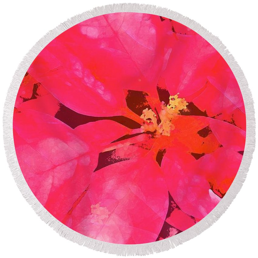 Christmas Round Beach Towel featuring the photograph Poinsettia 1 by Pamela Cooper