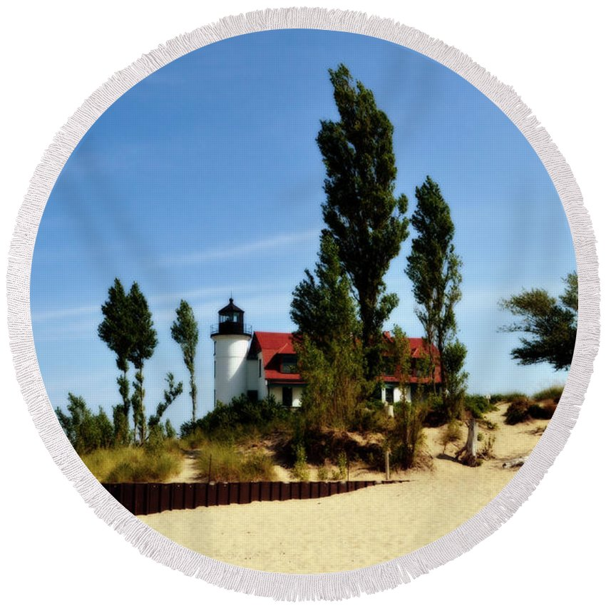 Lighthouse Round Beach Towel featuring the photograph Point Betsie Light by Michelle Calkins