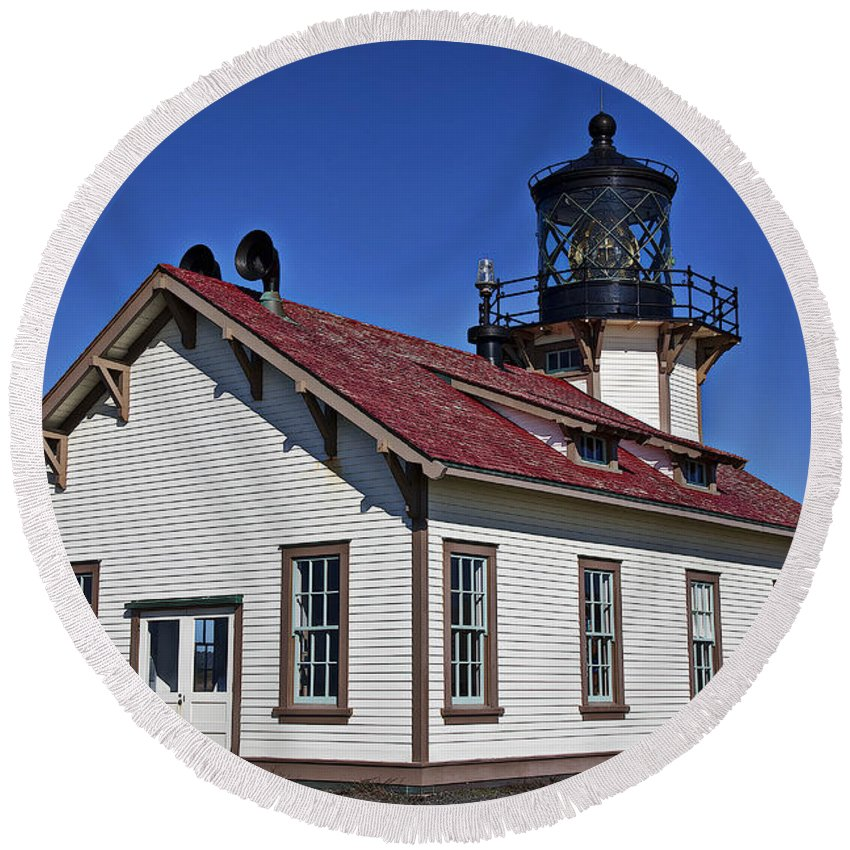 Point Carrillo Light Station Round Beach Towel featuring the photograph Point Cabrillo Light Station by Garry Gay