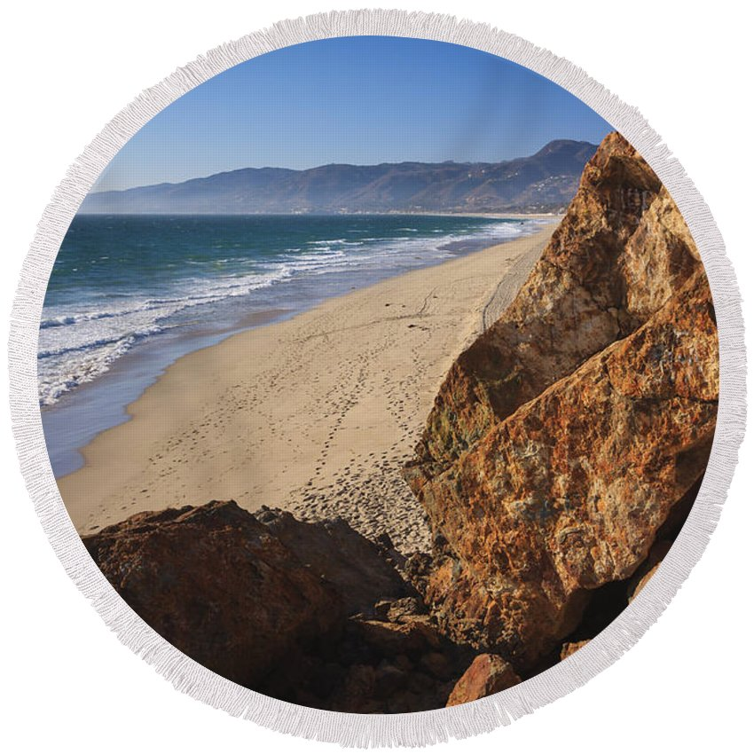 3scape Photos Round Beach Towel featuring the photograph Point Dume Overlooking Zuma Beach by Adam Romanowicz