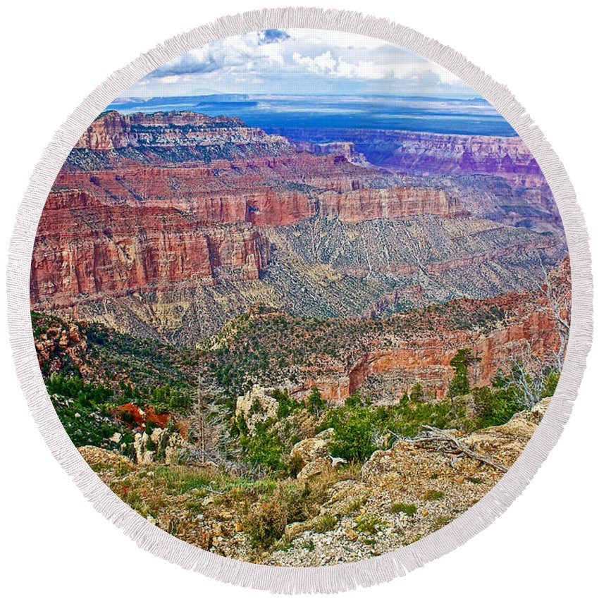 Point Imperial At 8803 Feet On North Rim/grand Canyon National Park Round Beach Towel featuring the photograph Point Imperial 8803 Feet On North Rim Of Grand Canyon National Park-arizona  by Ruth Hager