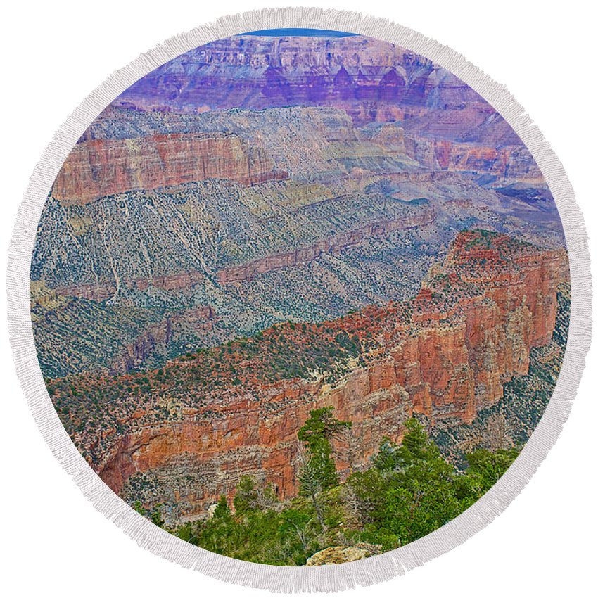 Point Imperial On North Rim/grand Canyon National Park Round Beach Towel featuring the photograph Point Imperial On North Rim Of Grand Canyon National Park-arizona  by Ruth Hager