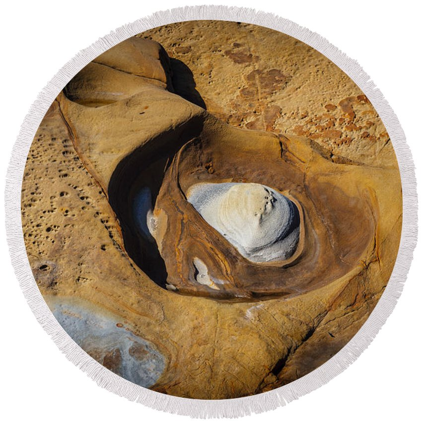 Copyrighted Round Beach Towel featuring the photograph Point Lobos Abstract 11 by Mike Penney