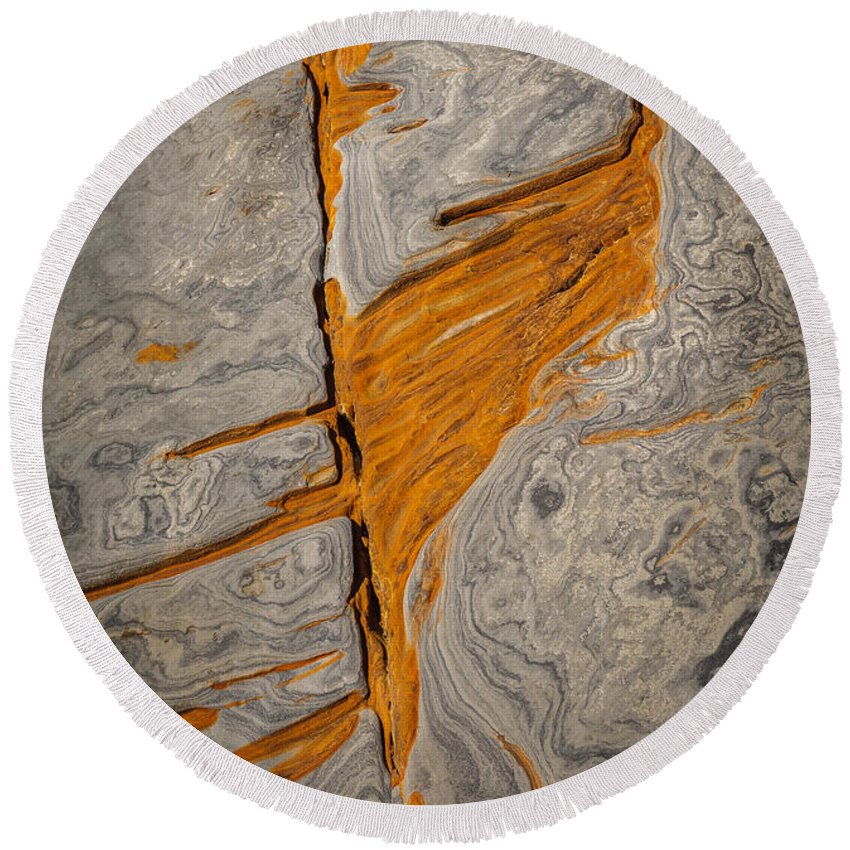 Copyrighted Round Beach Towel featuring the photograph Point Lobos Abstract 13 by Mike Penney