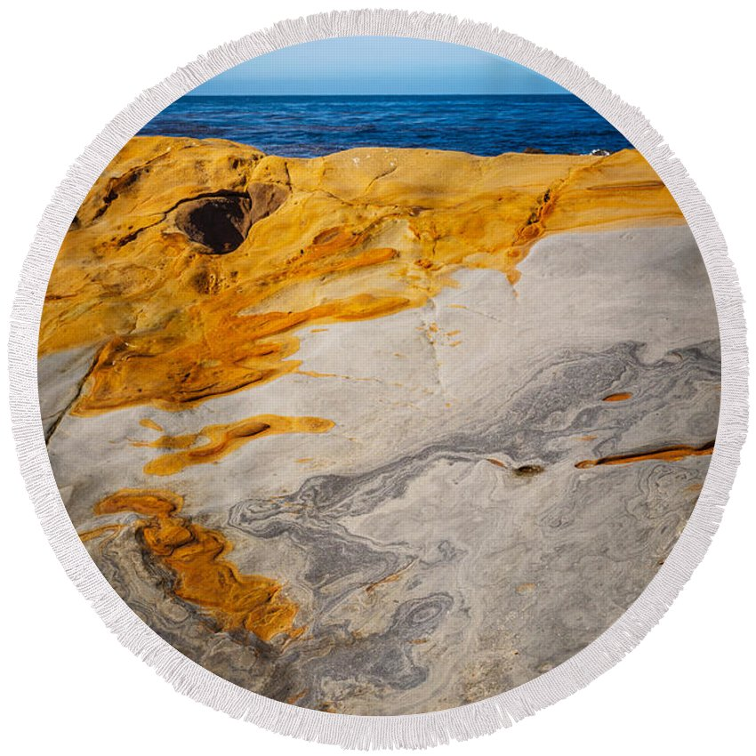 Copyrighted Round Beach Towel featuring the photograph Point Lobos Abstract 14 by Mike Penney