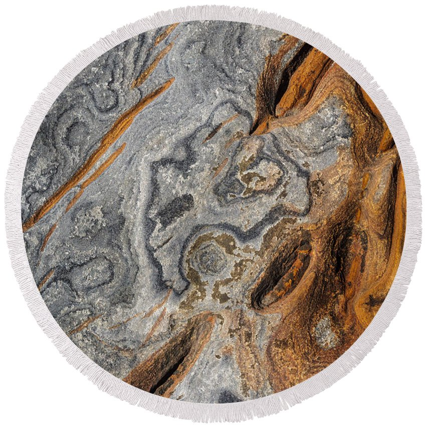 Copyrighted Round Beach Towel featuring the photograph Point Lobos Abstract 4 by Mike Penney