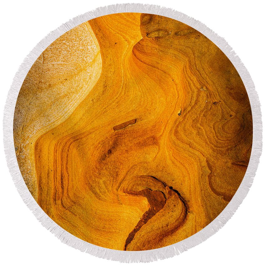 Copyrighted Round Beach Towel featuring the photograph Point Lobos Abstract 6 by Mike Penney
