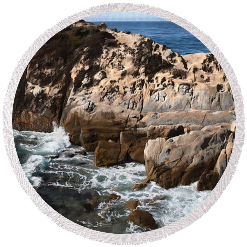Copyrighted Round Beach Towel featuring the painting Point Lobos Coast 2 by Mike Penney