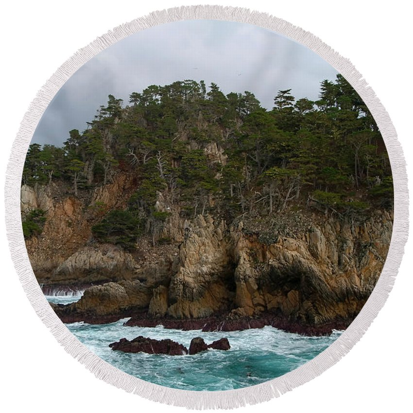 Point Lobos Round Beach Towel featuring the photograph Point Lobos Coastal View by Charlene Mitchell