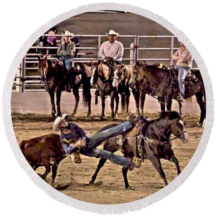Cowtown Rodeo Bull Dogging Cowboy Horses Steer Cow Round Beach Towel featuring the photograph Point Of No Return by Alice Gipson