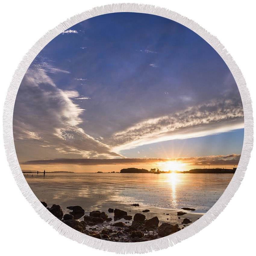 Humboldt Bay Round Beach Towel featuring the photograph Point Of The Sunset by Greg Nyquist