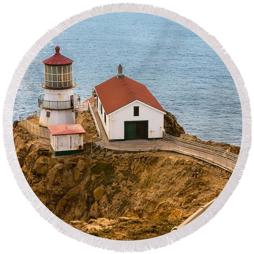 Ocean Round Beach Towel featuring the photograph Point Reyes by Bryant Coffey
