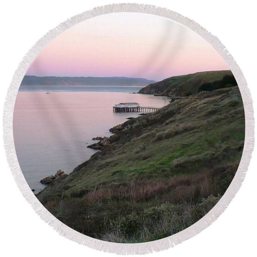 California Round Beach Towel featuring the photograph Point Reyes Sunset by Carol Groenen