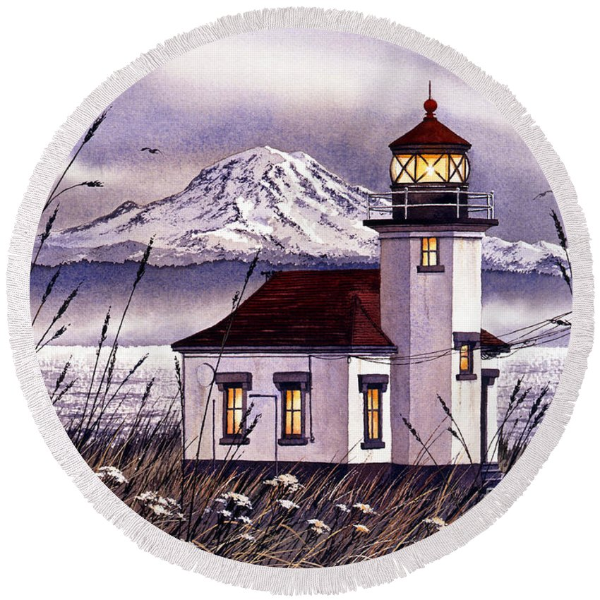 Lighthouse Fine Art Print Round Beach Towel featuring the painting Point Robinson Lighthouse by James Williamson