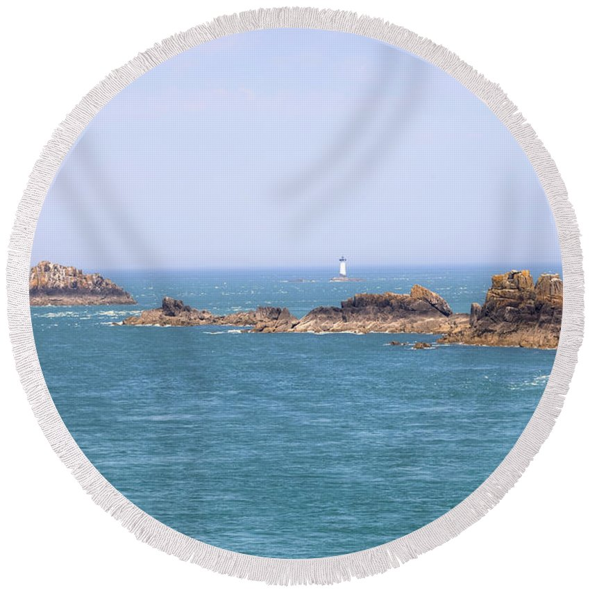 Pointe Du Grouin Round Beach Towel featuring the photograph Pointe Du Grouin - Brittany by Joana Kruse