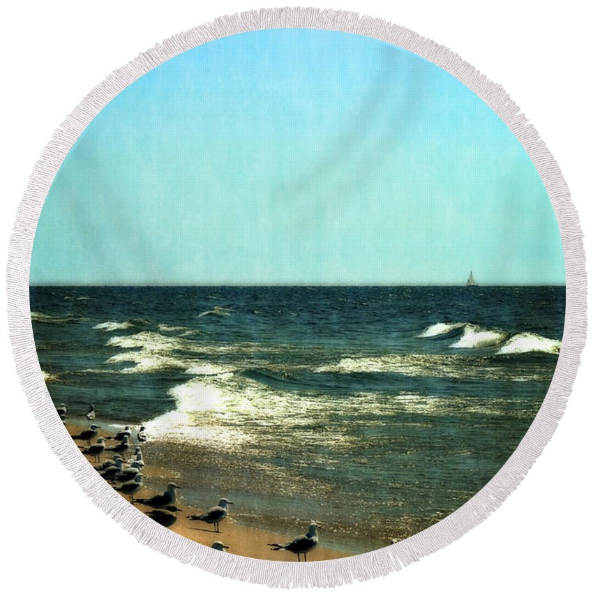 Lake Michigan Round Beach Towel featuring the photograph Pointed Into The Wind by Michelle Calkins