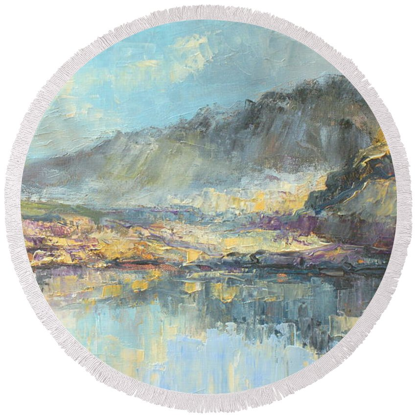 Poland Round Beach Towel featuring the painting Poland - Tatry Mountains by Luke Karcz