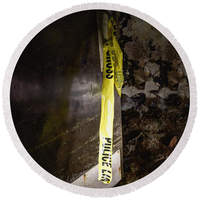 Door Round Beach Towel featuring the photograph Police Tape by Margie Hurwich