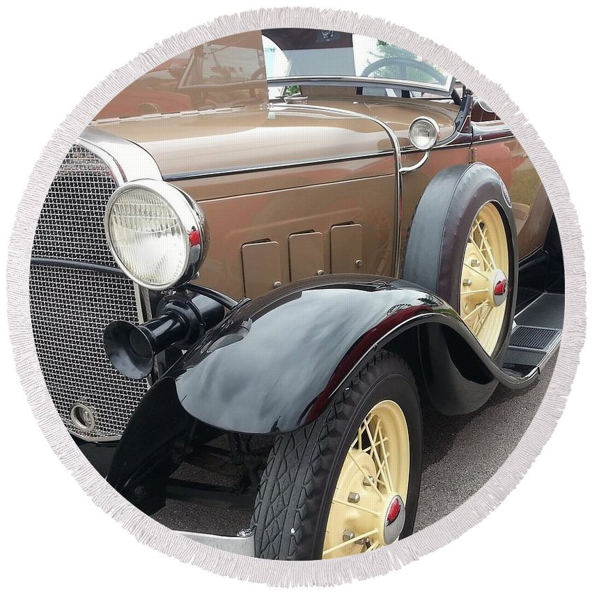 Antique Car Round Beach Towel featuring the photograph Polished by Caryl J Bohn