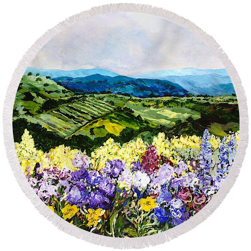 Landscape Round Beach Towel featuring the painting Pollinators Ravine by Allan P Friedlander