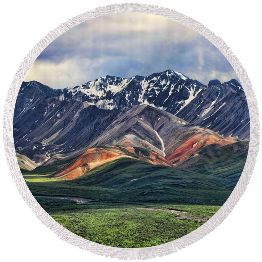Polychrome Round Beach Towel featuring the photograph Polychrome by Heather Applegate