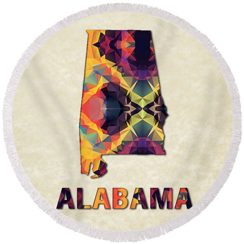 Alabama State Map United+states America Maps Cartography Geography Municipalities Travel Routes Round Beach Towel featuring the painting Polygon Mosaic Parchment Map Alabama by Elaine Plesser