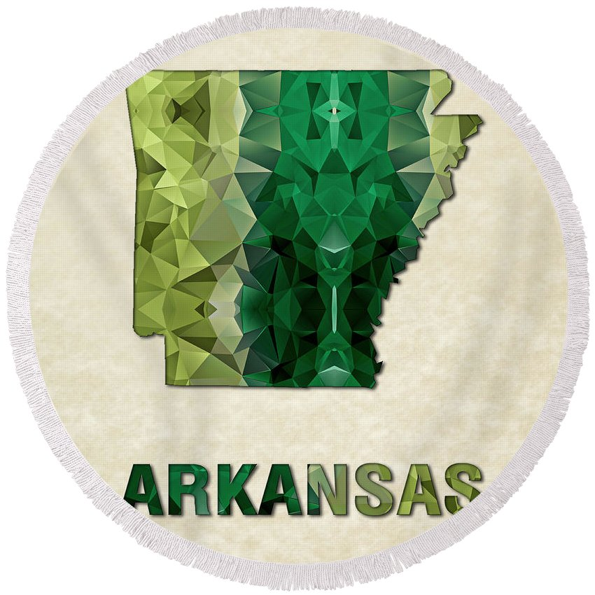 Arkansas State Map United+states America Maps Cartography Geography Municipalities Travel Routes Round Beach Towel featuring the painting Polygon Mosaic Parchment Map Arkansas by Elaine Plesser