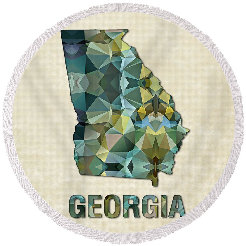 Georgia State Map United+states America Maps Cartography Geography Municipalities Travel Routes Round Beach Towel featuring the painting Polygon Mosaic Parchment Map Georgia by Elaine Plesser