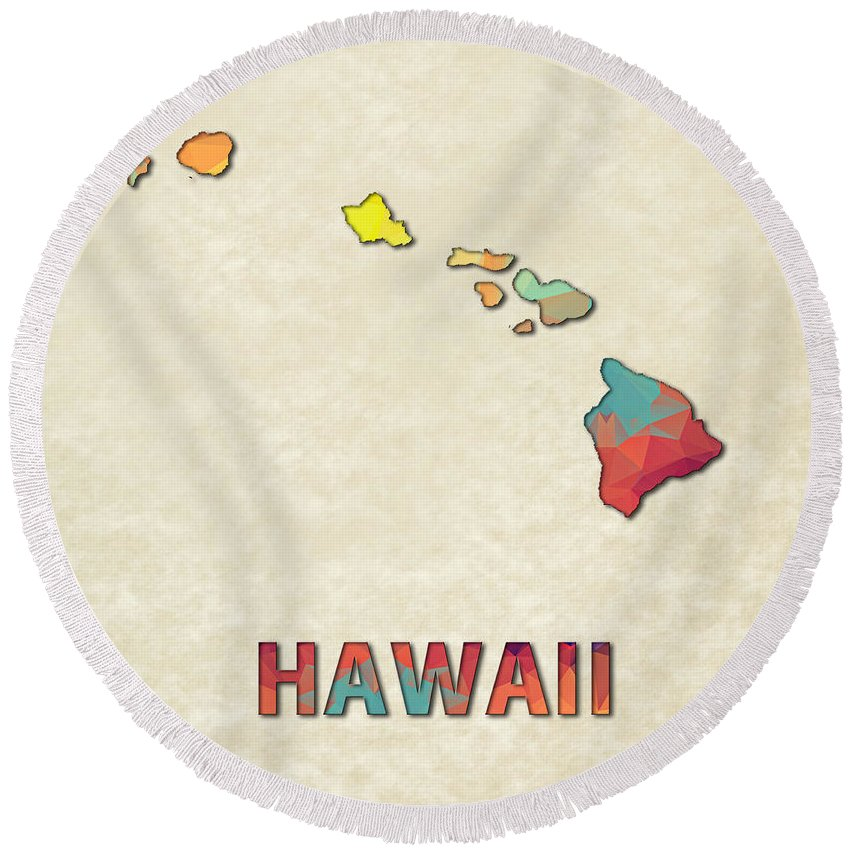 Hawaii State Map United+states America Maps Cartography Geography Municipalities Travel Routes Round Beach Towel featuring the painting Polygon Mosaic Parchment Map Hawaii by Elaine Plesser