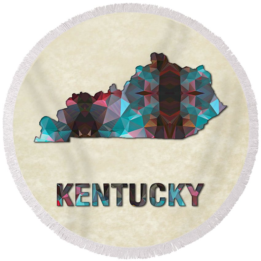 Kentucky State Map United+states America Maps Cartography Geography Municipalities Travel Routes Round Beach Towel featuring the painting Polygon Mosaic Parchment Map Kentucky by Elaine Plesser