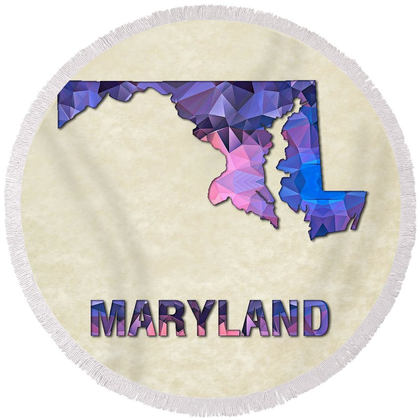 Naryland State Map United+states America Maps Cartography Geography Municipalities Travel Routes Round Beach Towel featuring the painting Polygon Mosaic Parchment Map Maryland by Elaine Plesser