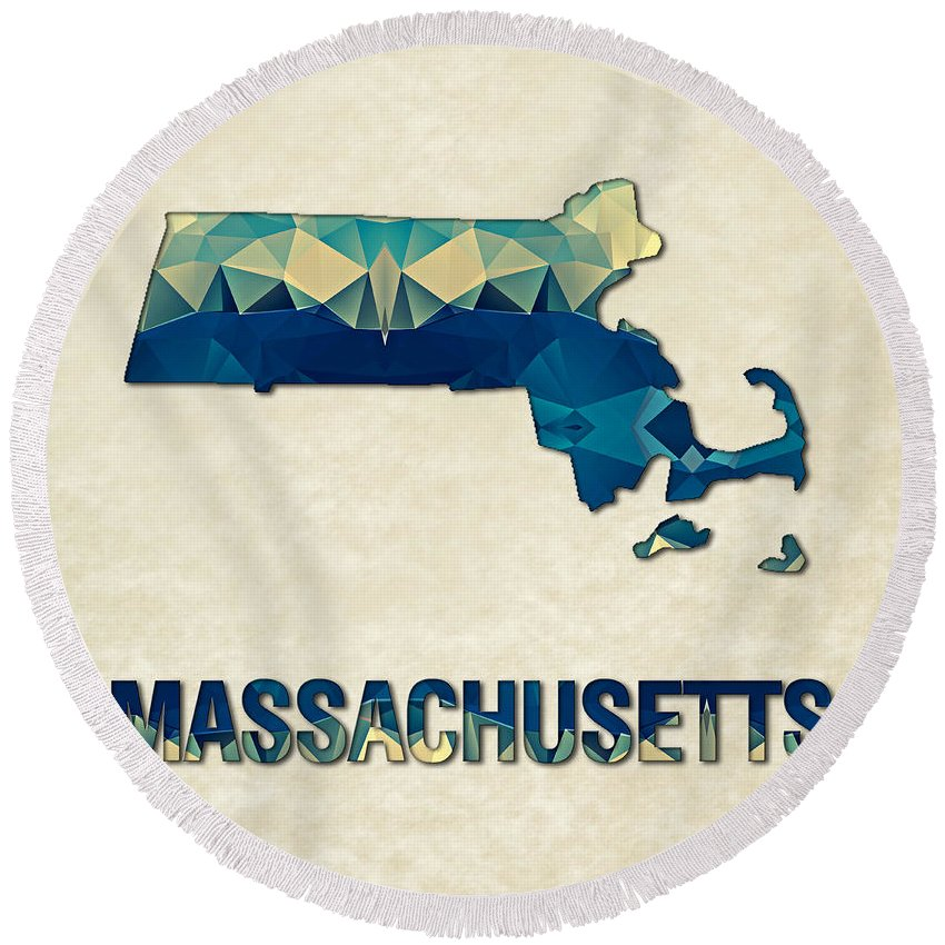 Massachusetts State Map United+states America Maps Cartography Geography Municipalities Travel Routes Round Beach Towel featuring the painting Polygon Mosaic Parchment Map Massachusetts by Elaine Plesser