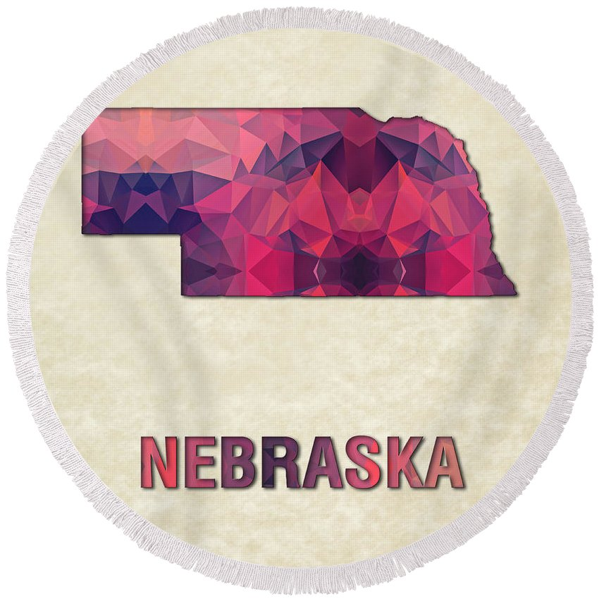 Nebraska State Map United+states America Maps Cartography Geography Municipalities Travel Routes Round Beach Towel featuring the painting Polygon Mosaic Parchment Map Nebraska by Elaine Plesser