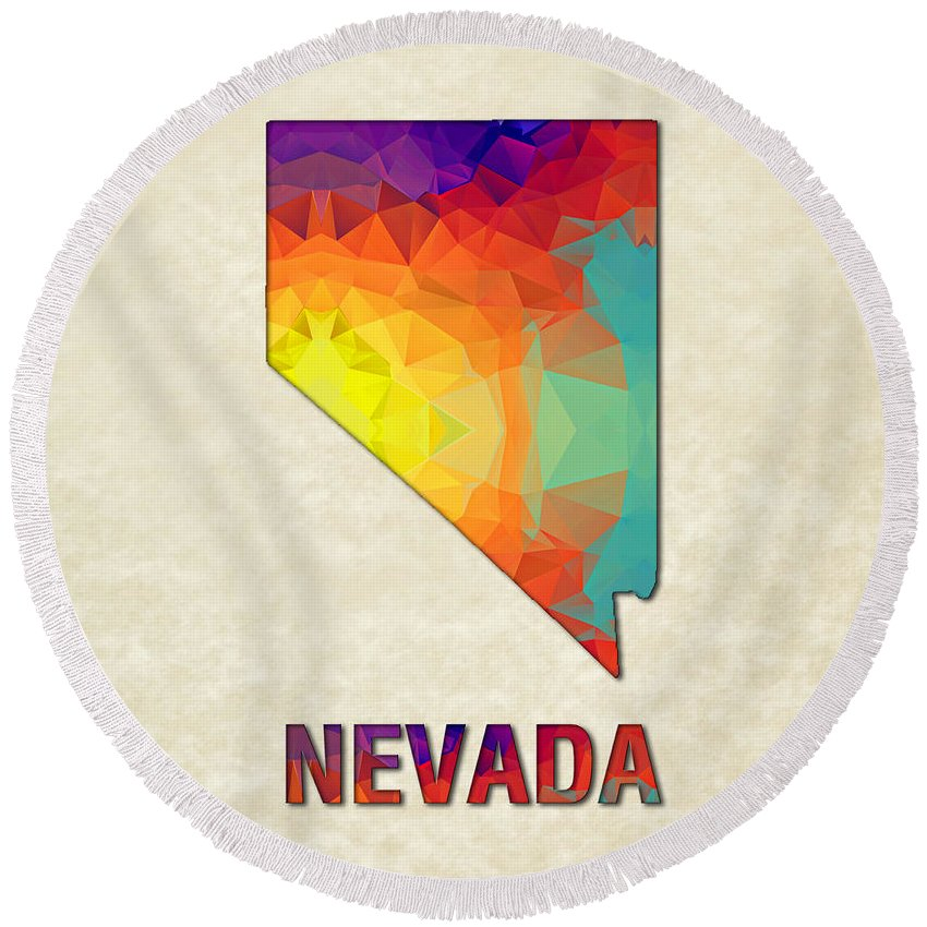 Nevada State Map United+states America Maps Cartography Geography Municipalities Travel Routes Round Beach Towel featuring the painting Polygon Mosaic Parchment Map Nevada by Elaine Plesser