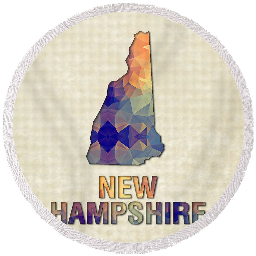 New+hampshire State Map United+states America Maps Cartography Geography Municipalities Travel Routes Round Beach Towel featuring the painting Polygon Mosaic Parchment Map New Hampshire by Elaine Plesser